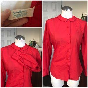 Peter Pan Collar Red long sleeve shirt